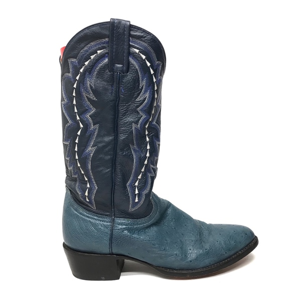 9a63f33be33 DAN POST Blue Genuine Ostrich Leather Cowboy Boots